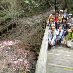 橋の上で赤八入の花とパチリ!!